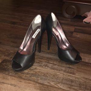 Black open-toed Steve Madden heels
